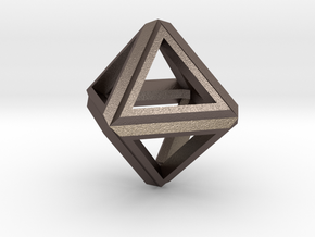 Octahedron Frame Pendant V1 Small in Polished Bronzed Silver Steel