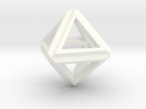 Octahedron Frame Pendant V1 Small in White Processed Versatile Plastic