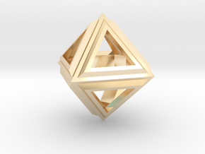 Octahedron Frame Pendant V2 Small in 14K Yellow Gold