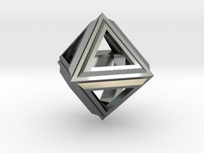 Octahedron Frame Pendant V2 Small in Fine Detail Polished Silver