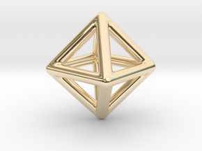 Minimal Octahedron Frame Pendant Small in 14K Yellow Gold