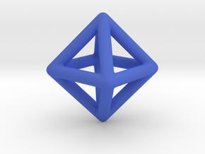 Minimal Octahedron Frame Pendant Small in Blue Processed Versatile Plastic
