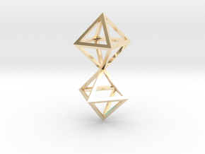 Faceted Twin Octahedron Frame Pendant in 14K Yellow Gold