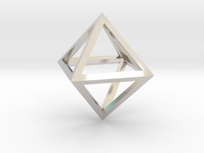 Faceted Minimal Octahedron Frame Pendant in Platinum