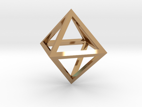 Faceted Minimal Octahedron Frame Pendant Small in Polished Brass