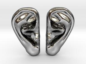 Ear Stud Earrings in Fine Detail Polished Silver