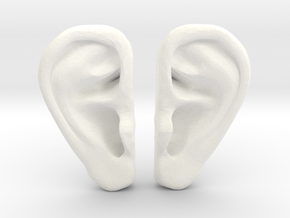 Ear Stud Earrings in White Processed Versatile Plastic