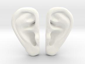 Ear Stud Earrings in White Processed Versatile Plastic