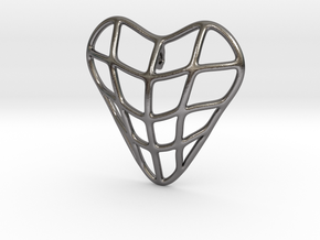 Heart cage pendant in Polished Nickel Steel