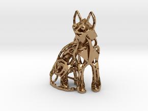 GeoCat Cat Pendant Charm in Polished Brass