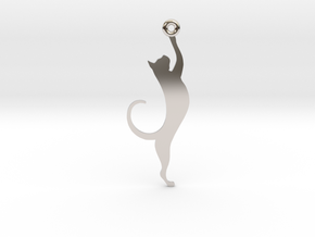 Cat Earring in Rhodium Plated Brass