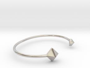 Cuff Bracelet with Geometric Pyramids in Rhodium Plated Brass