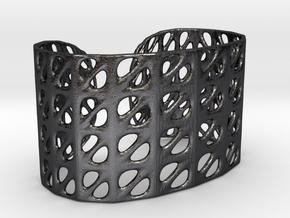 Bracelet, Generative Pattern, size M in Polished and Bronzed Black Steel