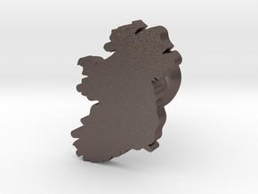 Ireland cufflink  in Polished Bronzed Silver Steel