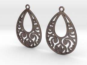 Teardrop Filigree Earrings in Polished Bronzed Silver Steel