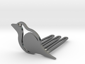 Robin for beard - front wearing in Polished Silver