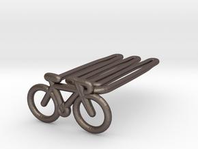 Bike for beard - front wearing in Polished Bronzed Silver Steel