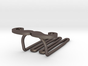 Mustache for beard - lateral wearing in Polished Bronzed Silver Steel