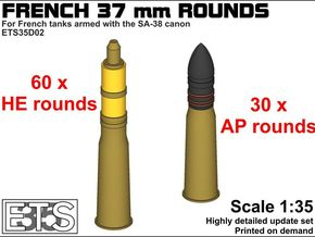 ETS35D02 - 90x 37 mm SA38 Rounds [1/35] in Smoothest Fine Detail Plastic