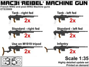ETS35009 Reibel Machine Gun - 6 types, 2 of each in Smooth Fine Detail Plastic