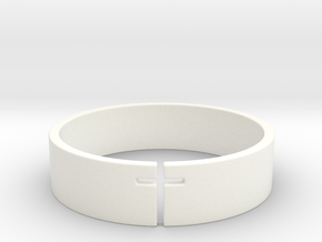 Cross Ring Size 10 in White Processed Versatile Plastic