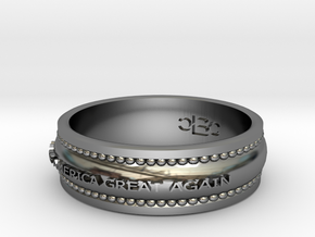 Size 10 1/2 Make America Great Again Ring in Fine Detail Polished Silver