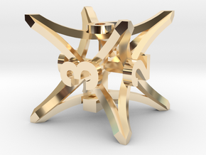'Radial' D6 balanced gaming die in 14k Gold Plated Brass