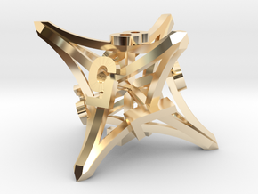 'Radial' D8 balanced gaming die in 14k Gold Plated Brass