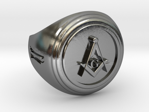 Masonic Ring in Polished Silver