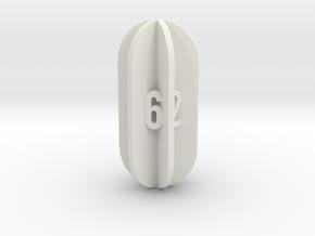 Radial Fin Dice in White Natural Versatile Plastic: d6