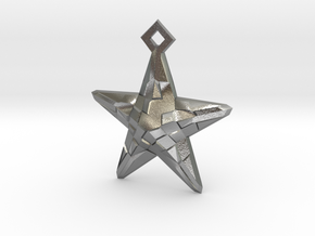 Stylised Sea Star Pendant in Natural Silver
