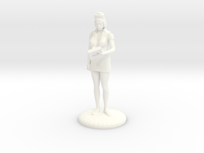 Head Nurse with clipboard - 25mm  in White Strong & Flexible Polished