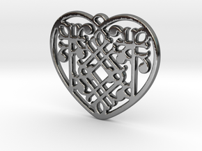 Victorian Heart in Fine Detail Polished Silver