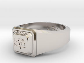 ClassRing size 9 in Rhodium Plated Brass