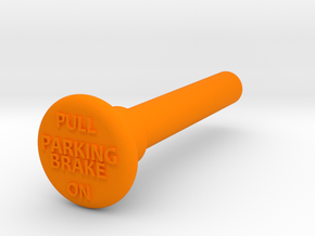 Parking Brake Knob W Text in Orange Processed Versatile Plastic