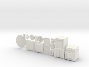 28mm/32mm Sci Fi Furniture And Greebles A in White Natural Versatile Plastic