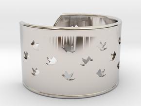 Bird Bracelet Small Ø58 Mm/Ø2.283 inch in Rhodium Plated Brass