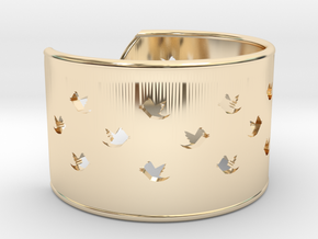 Bird Bracelet L Ø68 Mm/2.677 inch in 14k Gold Plated Brass