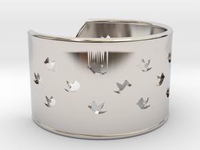 Bird Bracelet XL Ø73 Mm/2.874 inch in Rhodium Plated Brass