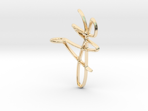Scribble Pendant in 14k Gold Plated Brass