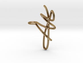 Scribble Pendant in Polished Gold Steel