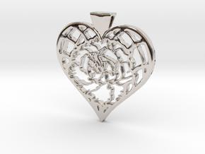 Birth Flower Heart Pendant: January Carnation in Rhodium Plated Brass