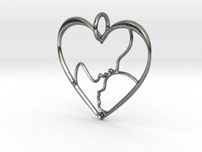 Mother and Child Heart Pendant in Polished Silver