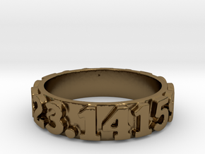 Pi Sequence Ring Size 7 in Polished Bronze