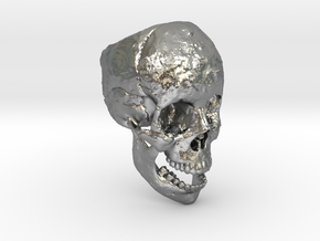 Human Skull Ring (size 8.5 - 9) in Raw Silver