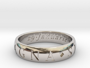 Size 13.5 Sir Francis Drake, Sic Parvis Magna Ring in Platinum