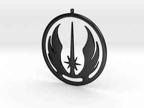 Symbol of the Jedi Order in Matte Black Steel