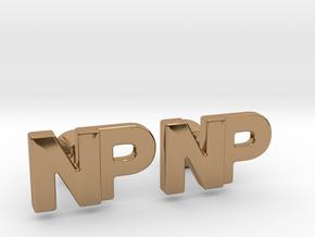 Monogram Cufflinks NP in Polished Brass