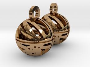 Craters of Rhea Earrings in Polished Brass