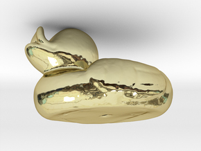 RUBBER DUCKY , 3-D PRINTED IN GOLD in 18k Gold Plated Brass